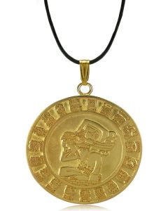 "24k Gold Plated 2"" Mayan Calendar Pendant  by ACROSS THE PUDDLE"