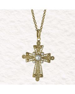 Filigree Handmade 24k GP .950 Silver and Cultured Pearls Byzantine Cross Reproduction Necklace