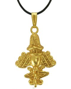 Ancient Aliens Jewelry Collection - 24k Gold Plated Aircraft-4 Pendant by ACROSS THE PUDDLE