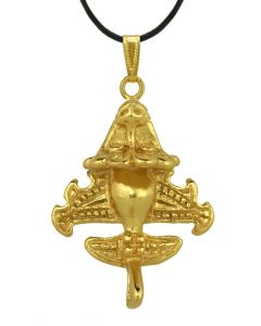 Ancient Aliens Jewelry Collection - 24k Gold Plated Aircraft-6 Pendant by ACROSS THE PUDDLE