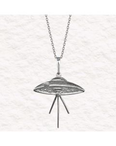"""The Elvis UFO Connection .950 Silver 1"""" Pendant with 20"""" SS Chain"""