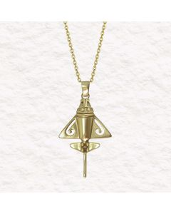 "24k Gold Plated Golden Jet .950 Silver 1.4"" Pendant SS Chain"