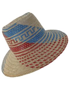 Red & Blue Sun Straw Wayuu Hat